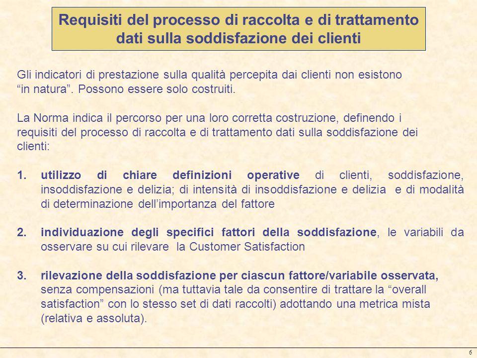 Requisiti del processo di raccolta e di trattamento