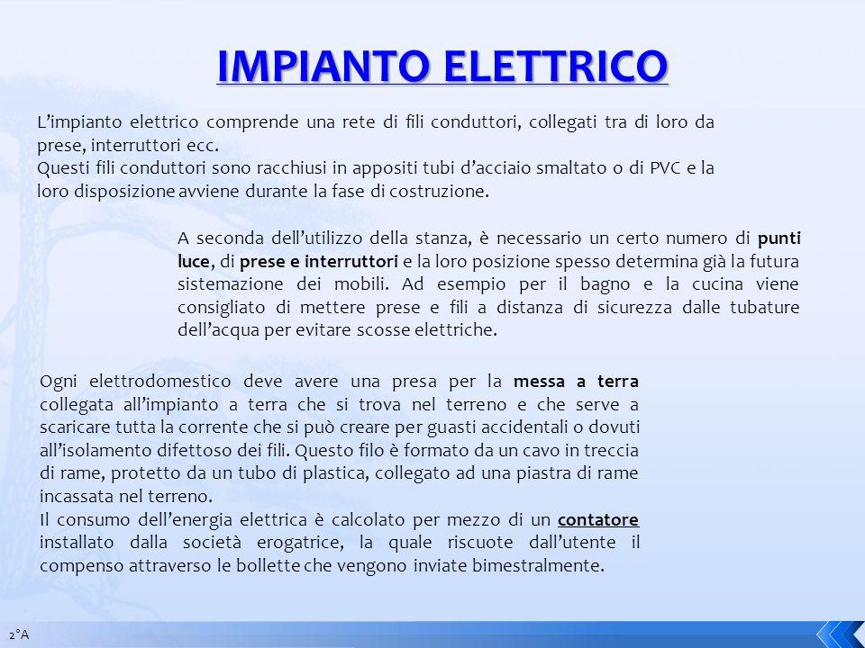 IMPIANTO ELETTRICO L'impianto elettrico comprende una rete di fili conduttori, collegati tra di loro da prese, interruttori ecc.
