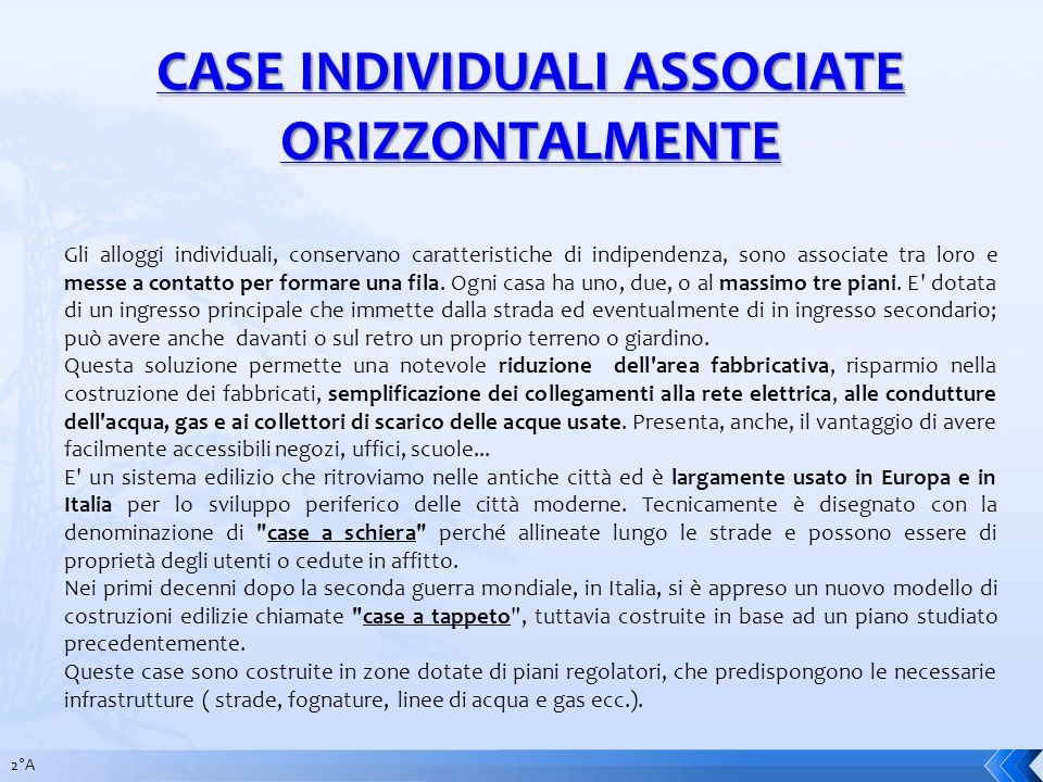 CASE INDIVIDUALI ASSOCIATE ORIZZONTALMENTE