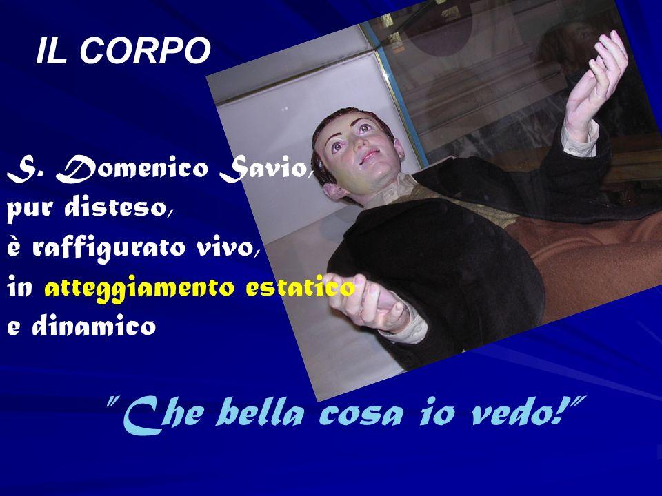 IL CORPO S. Domenico Savio, pur disteso, è raffigurato vivo,