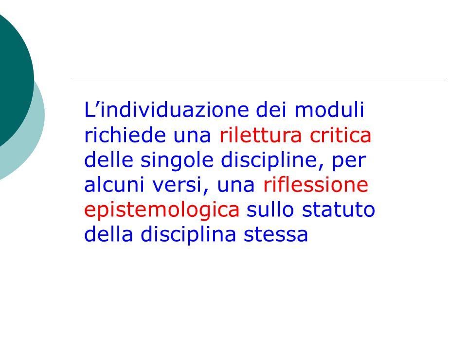 L'individuazione dei moduli richiede una rilettura critica delle singole discipline, per alcuni versi, una riflessione epistemologica sullo statuto della disciplina stessa