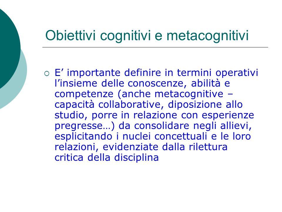 Obiettivi cognitivi e metacognitivi