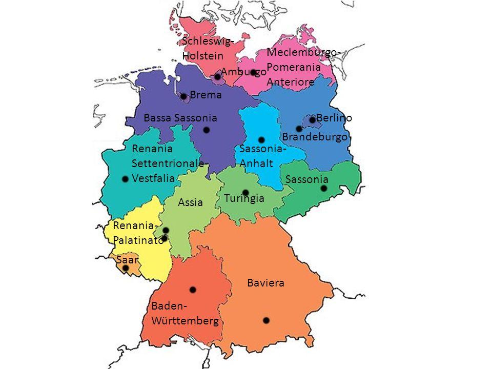 Schleswig-Holstein Meclemburgo-Pomerania Anteriore. Amburgo. Brema. Bassa Sassonia. Berlino. Brandeburgo.