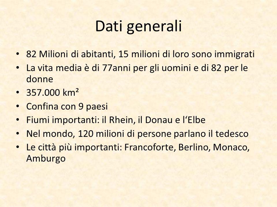 Dati generali 82 Milioni di abitanti, 15 milioni di loro sono immigrati. La vita media è di 77anni per gli uomini e di 82 per le donne.