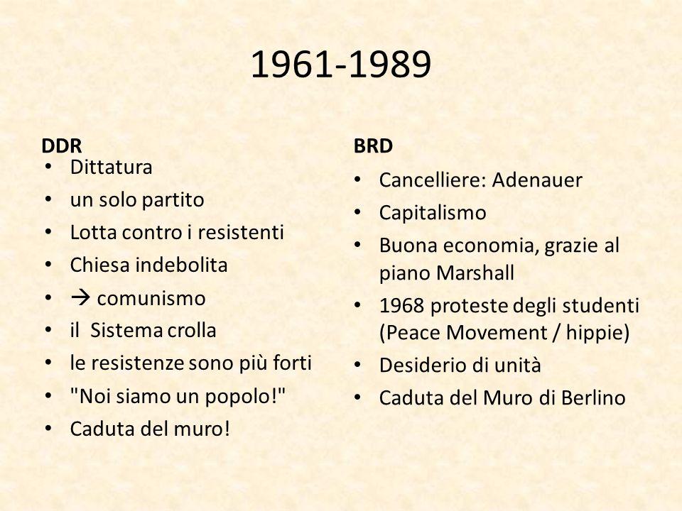 1961-1989 DDR BRD Dittatura un solo partito Lotta contro i resistenti