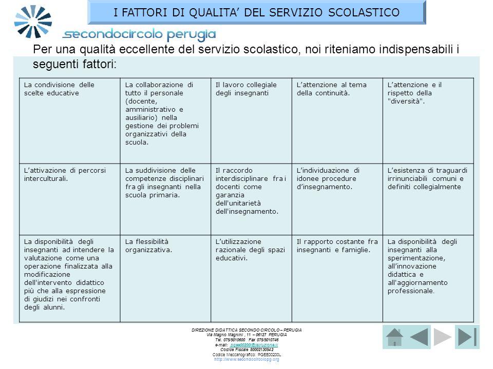 I FATTORI DI QUALITA' DEL SERVIZIO SCOLASTICO