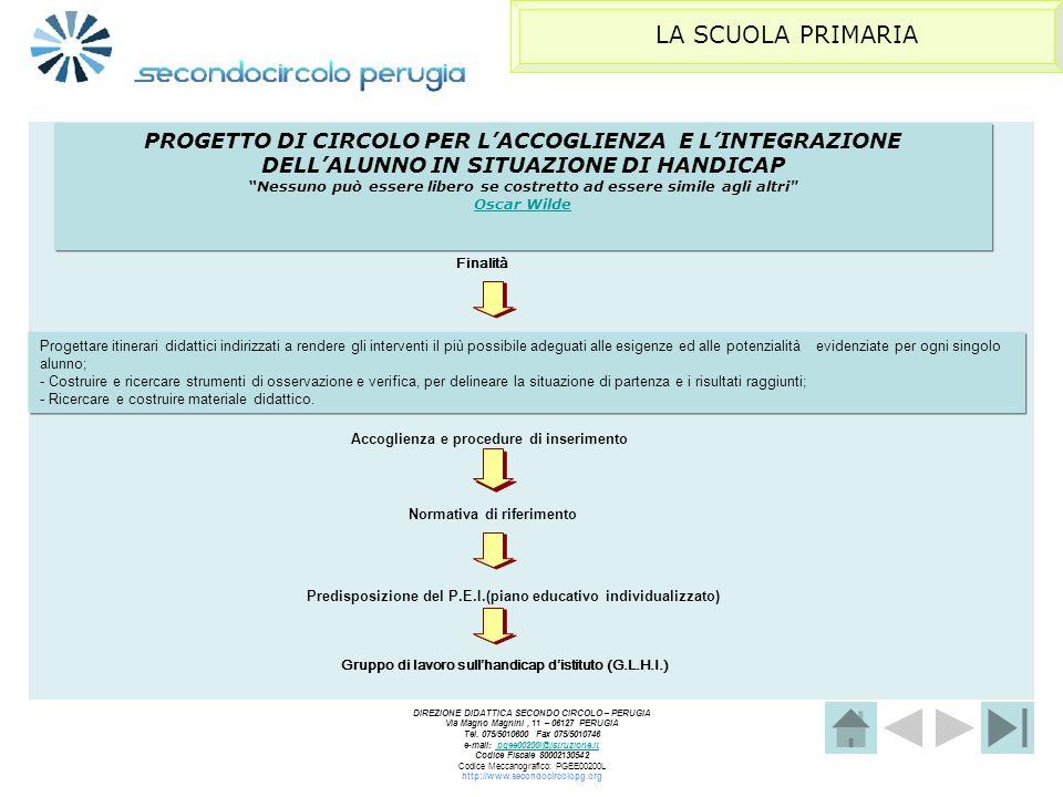 LA SCUOLA PRIMARIA PROGETTO DI CIRCOLO PER L'ACCOGLIENZA E L'INTEGRAZIONE DELL'ALUNNO IN SITUAZIONE DI HANDICAP.