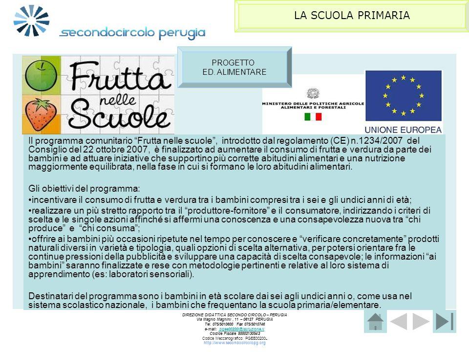 LA SCUOLA PRIMARIA PROGETTO. ED. ALIMENTARE.