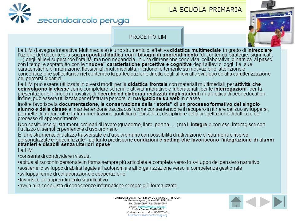 LA SCUOLA PRIMARIA PROGETTO LIM