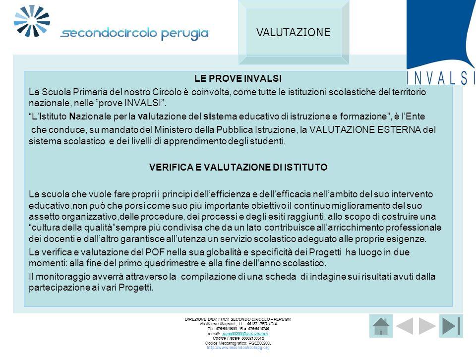 VERIFICA E VALUTAZIONE DI ISTITUTO