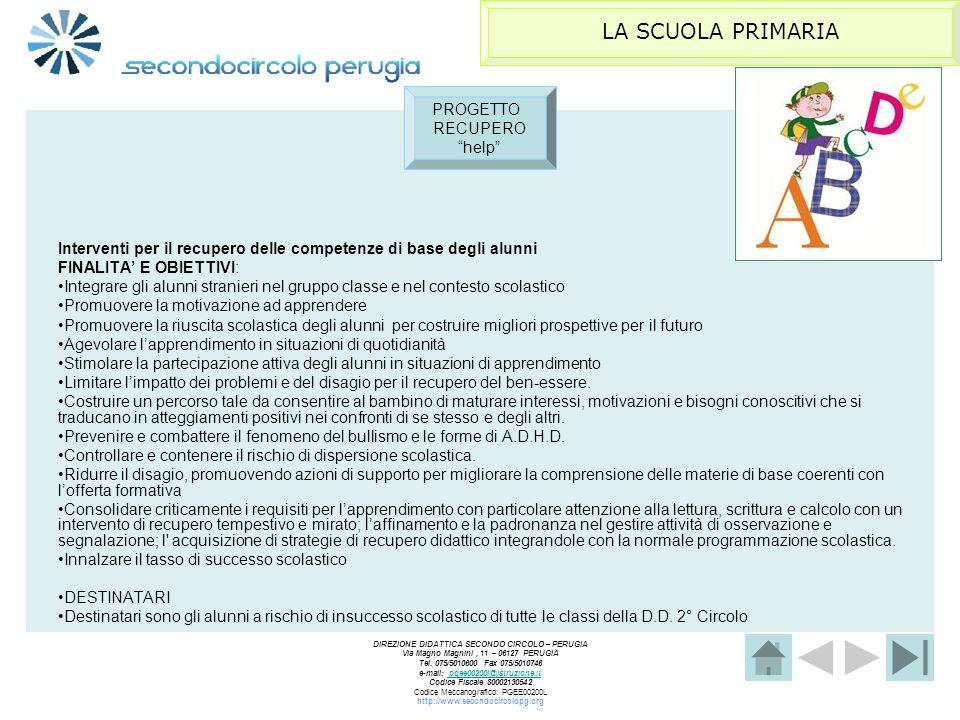 LA SCUOLA PRIMARIA PROGETTO RECUPERO help