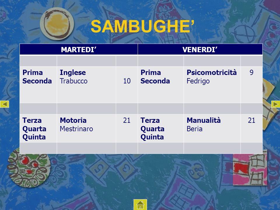SAMBUGHE' MARTEDI' VENERDI' Prima Seconda Inglese Trabucco 10