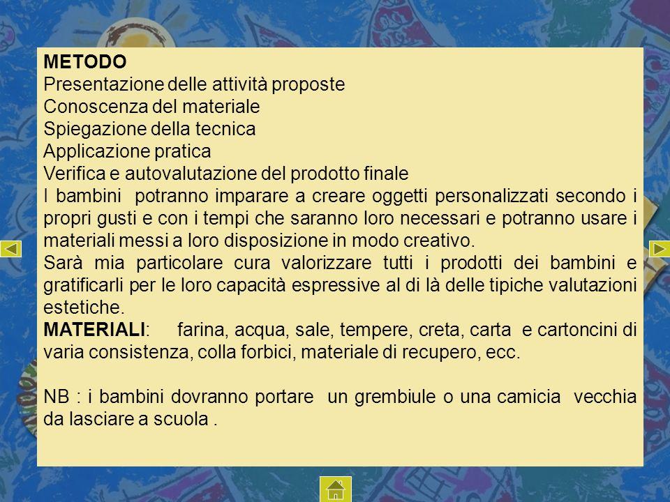 METODO Presentazione delle attività proposte. Conoscenza del materiale. Spiegazione della tecnica.
