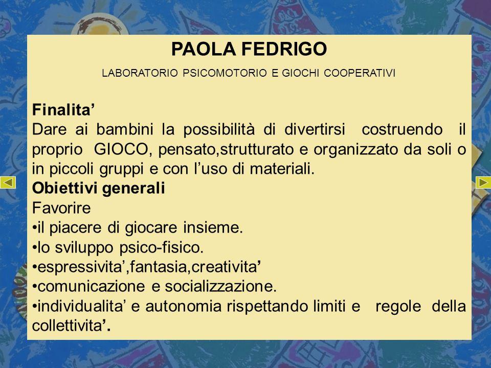 LABORATORIO PSICOMOTORIO E GIOCHI COOPERATIVI