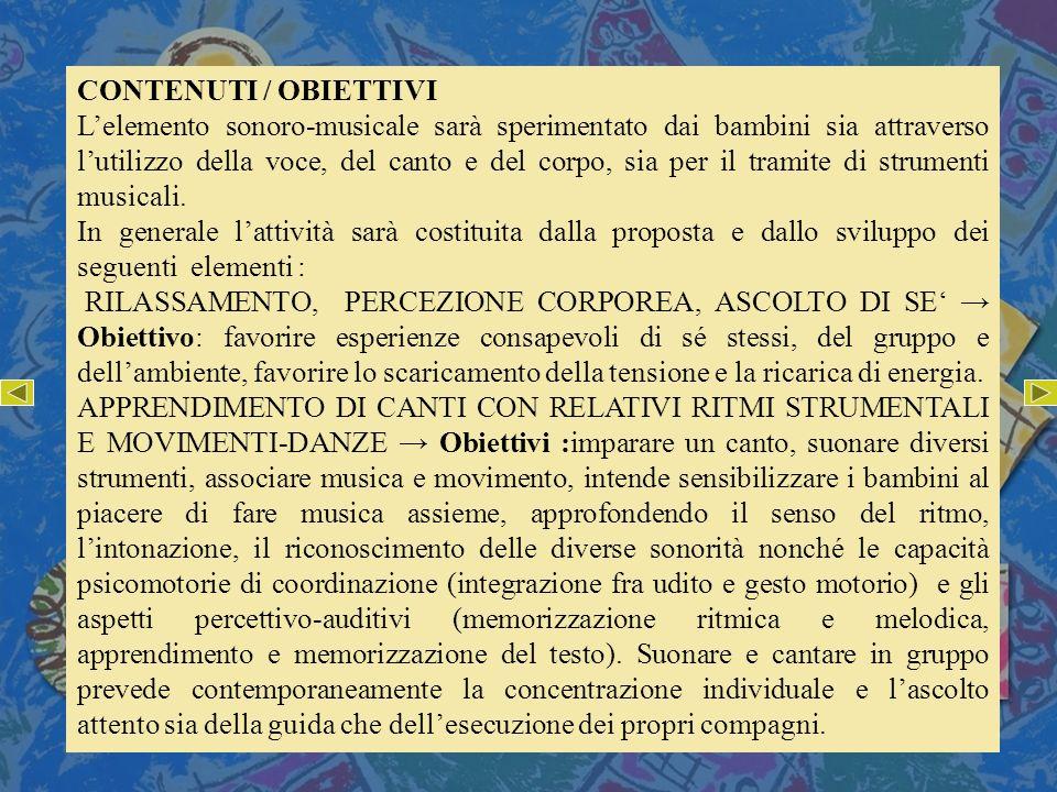 CONTENUTI / OBIETTIVI