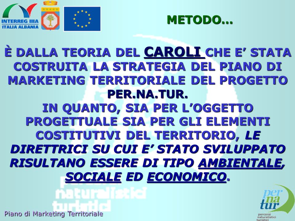 METODO… È DALLA TEORIA DEL CAROLI CHE E' STATA COSTRUITA LA STRATEGIA DEL PIANO DI MARKETING TERRITORIALE DEL PROGETTO PER.NA.TUR.
