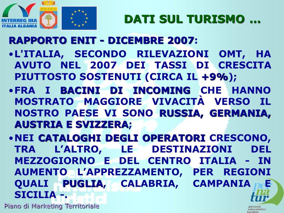 DATI SUL TURISMO … RAPPORTO ENIT - DICEMBRE 2007: