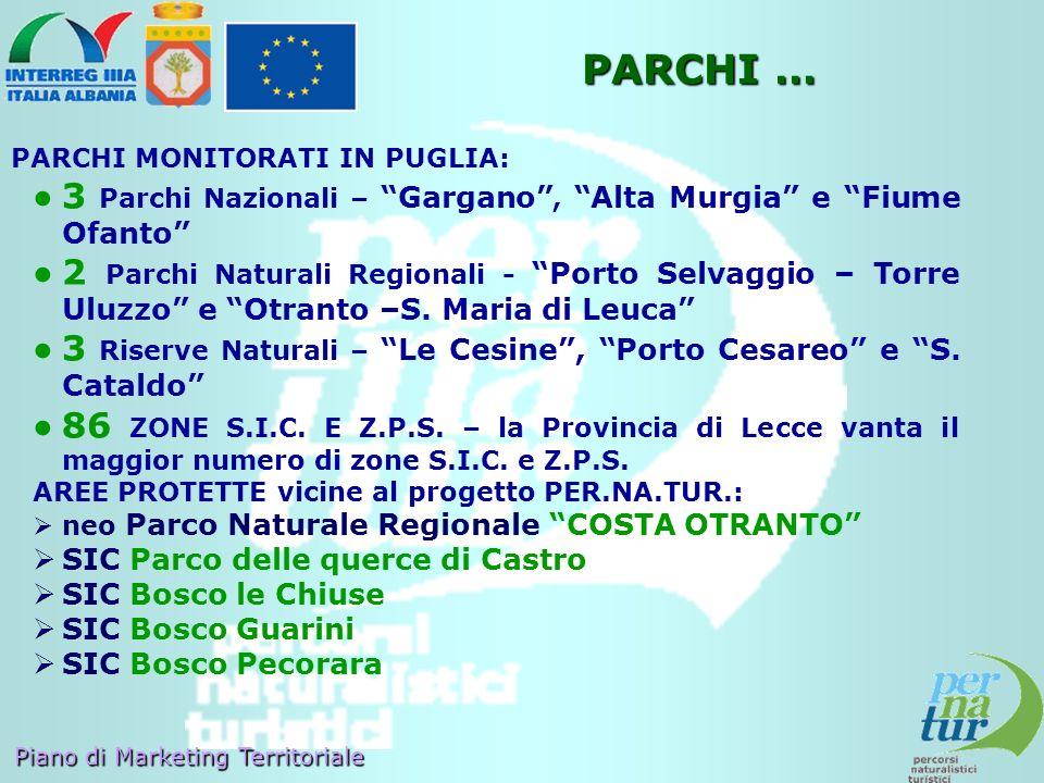 PARCHI … PARCHI MONITORATI IN PUGLIA: 3 Parchi Nazionali – Gargano , Alta Murgia e Fiume Ofanto