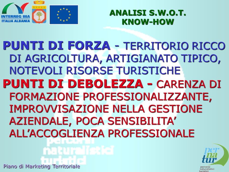 ANALISI S.W.O.T. KNOW-HOW PUNTI DI FORZA - TERRITORIO RICCO DI AGRICOLTURA, ARTIGIANATO TIPICO, NOTEVOLI RISORSE TURISTICHE.