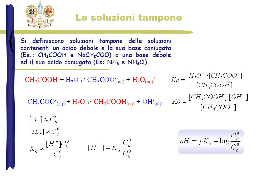 Le soluzioni tampone CH3COOH + H2O ⇄ CH3COO-(aq) + H3O(aq)+