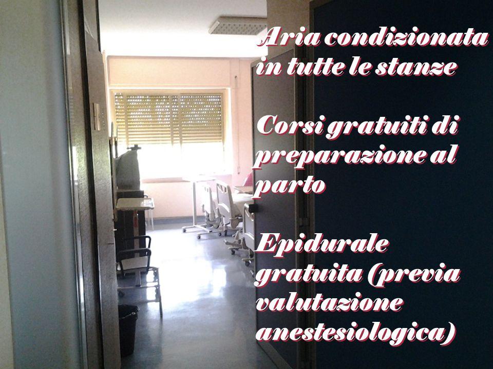 Aria condizionata in tutte le stanze Corsi gratuiti di preparazione al parto Epidurale gratuita (previa valutazione anestesiologica)