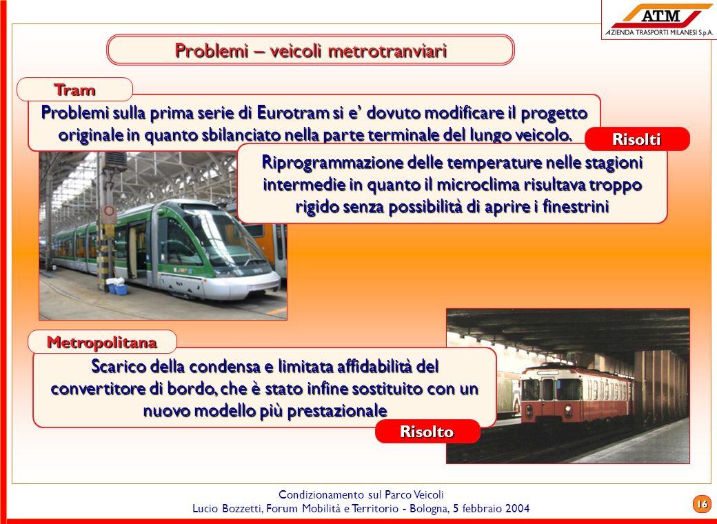 Problemi – veicoli metrotranviari