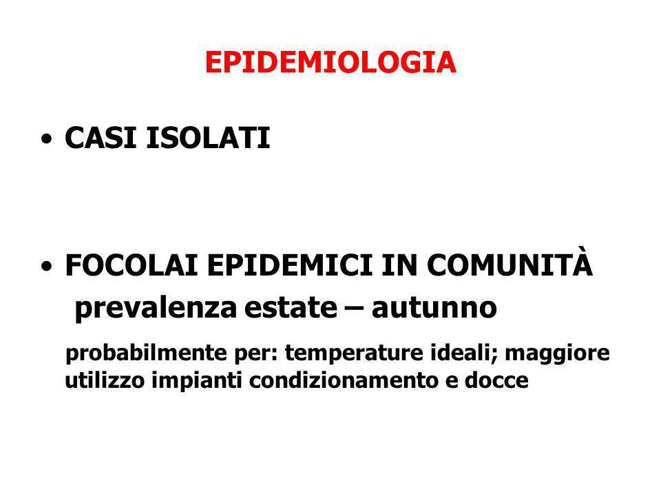 EPIDEMIOLOGIA CASI ISOLATI. FOCOLAI EPIDEMICI IN COMUNITÀ. prevalenza estate – autunno.