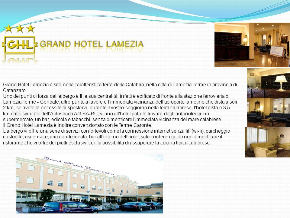 Grand Hotel Lamezia è sito nella caratteristica terra della Calabria, nella città di Lamezia Terme in provincia di Catanzaro.