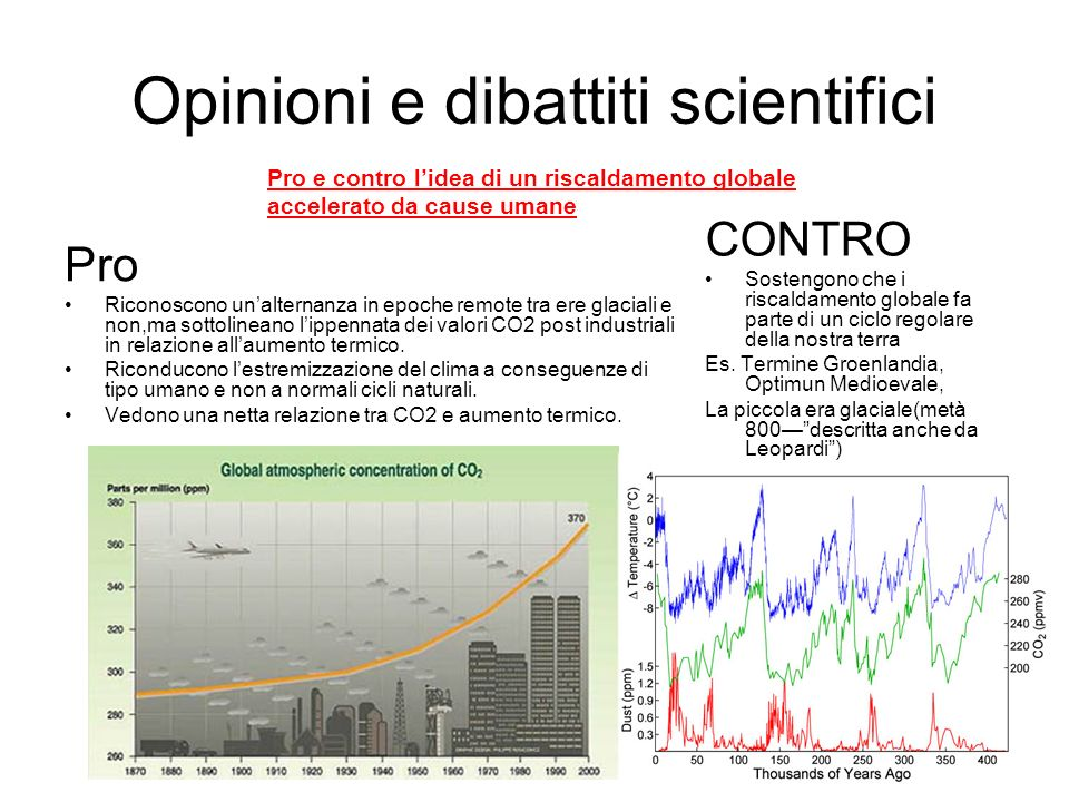 Opinioni e dibattiti scientifici