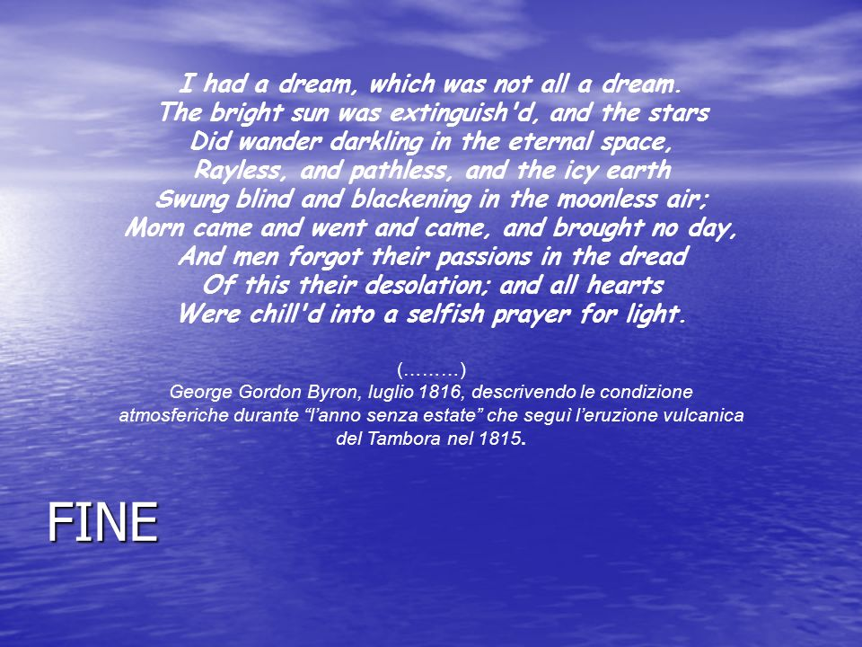 (………) George Gordon Byron, luglio 1816, descrivendo le condizione