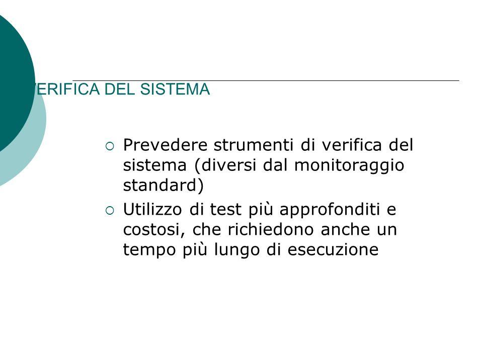 VERIFICA DEL SISTEMA Prevedere strumenti di verifica del sistema (diversi dal monitoraggio standard)