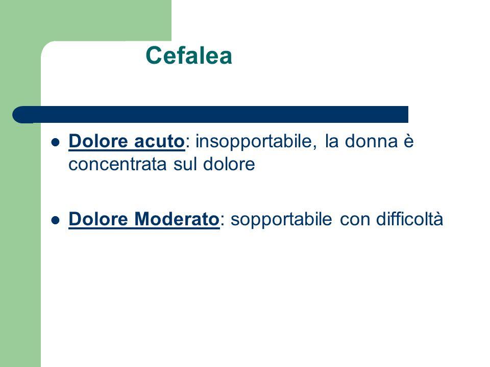 Cefalea Dolore acuto: insopportabile, la donna è concentrata sul dolore.