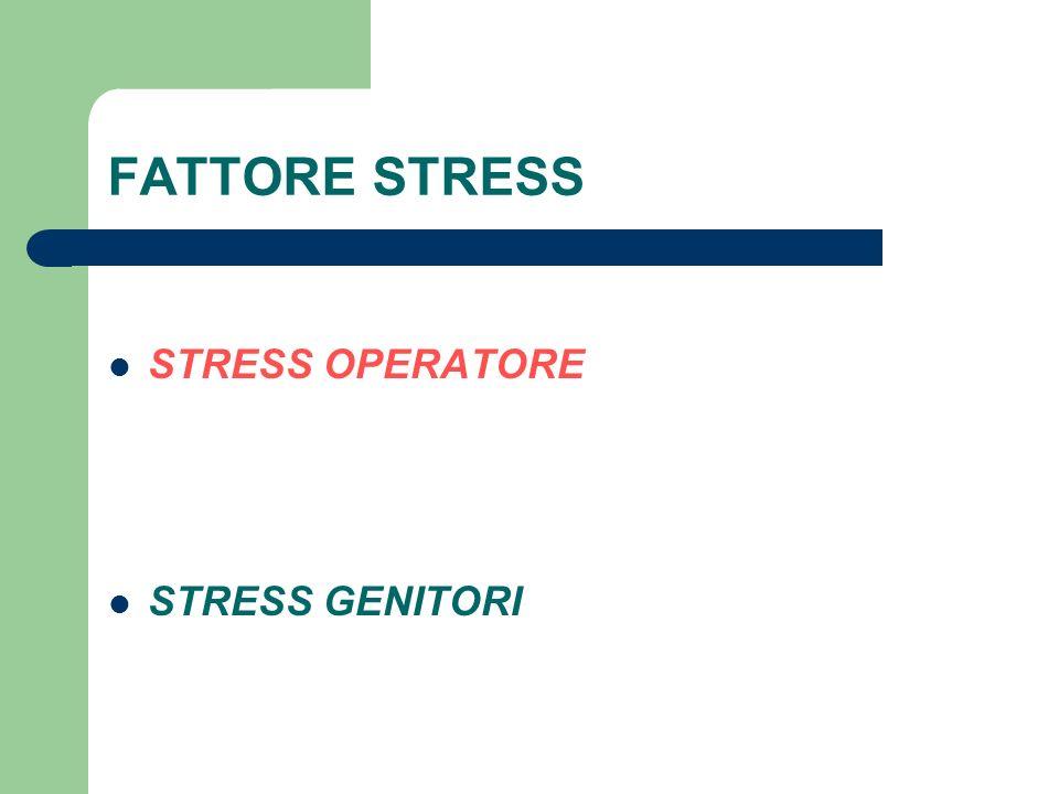 FATTORE STRESS STRESS OPERATORE STRESS GENITORI