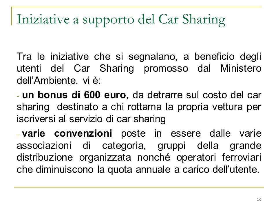 Iniziative a supporto del Car Sharing