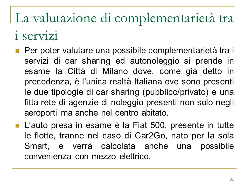 La valutazione di complementarietà tra i servizi