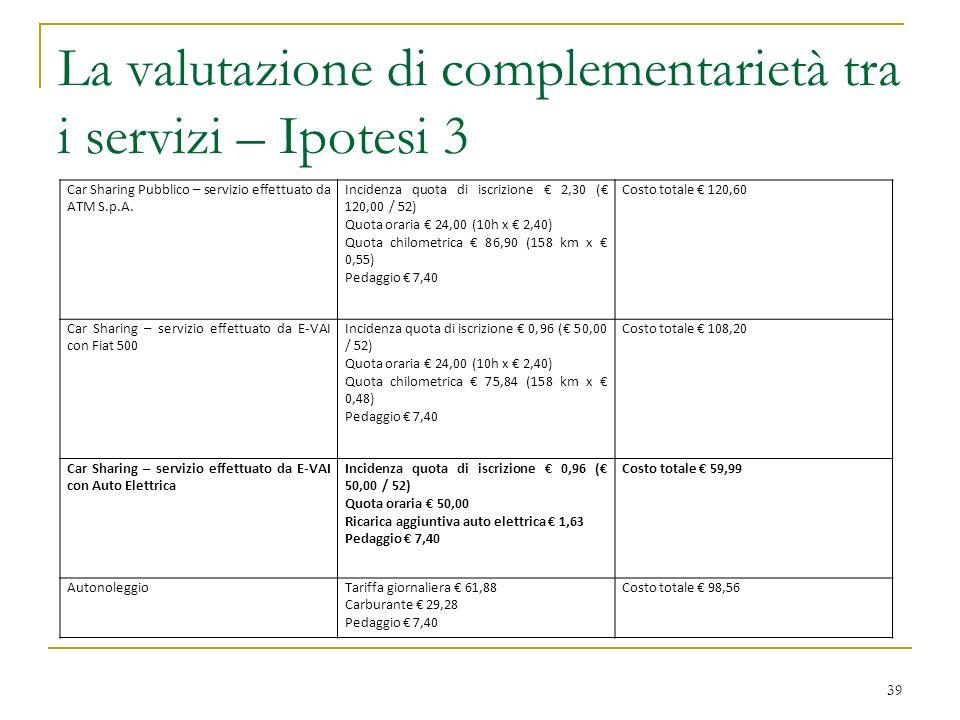 La valutazione di complementarietà tra i servizi – Ipotesi 3
