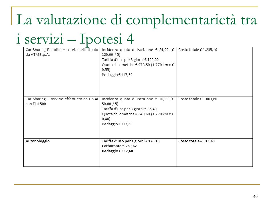 La valutazione di complementarietà tra i servizi – Ipotesi 4