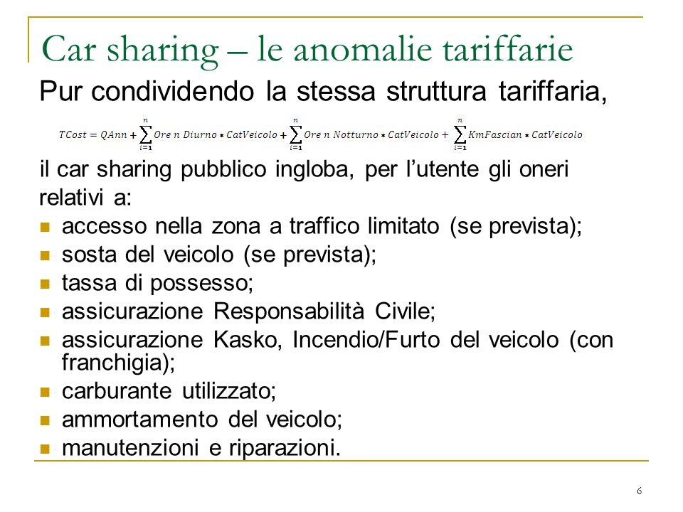 Car sharing – le anomalie tariffarie