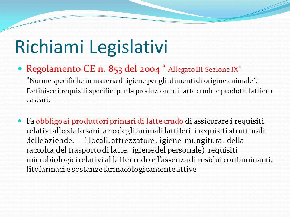 Richiami Legislativi Regolamento CE n. 853 del 2004 Allegato III Sezione IX