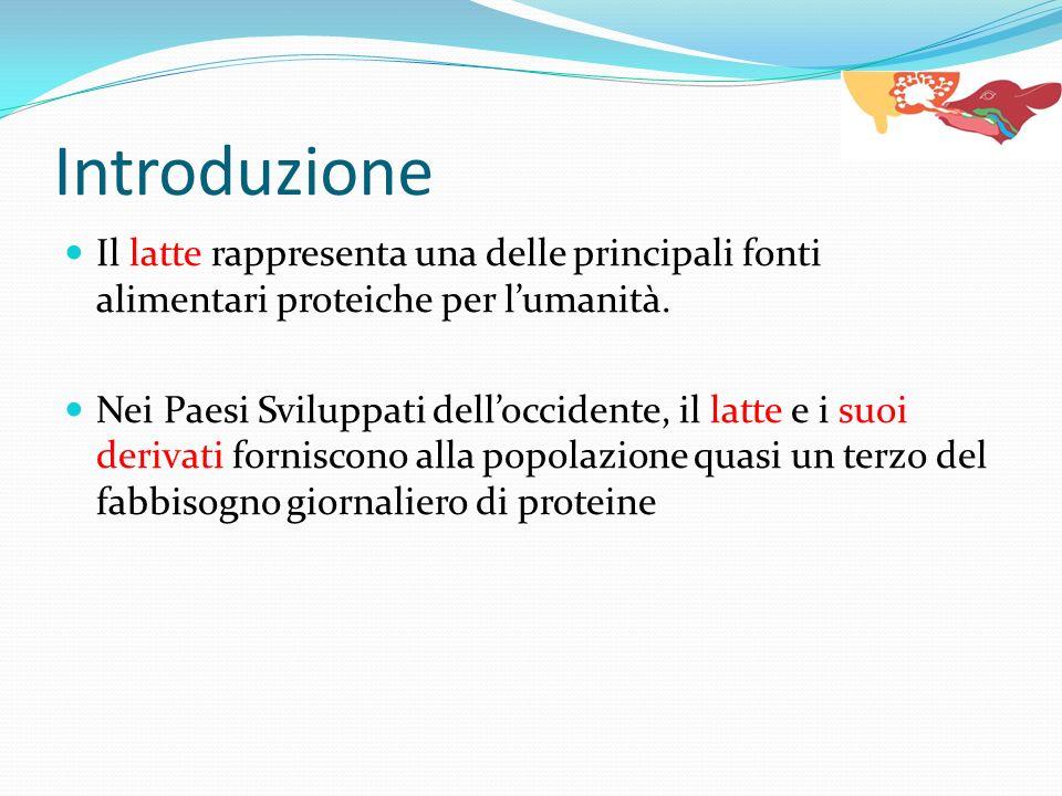 Introduzione Il latte rappresenta una delle principali fonti alimentari proteiche per l'umanità.