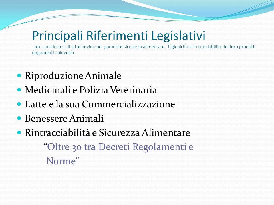 Principali Riferimenti Legislativi per i produttori di latte bovino per garantire sicurezza alimentare , l'igienicità e la tracciabilità dei loro prodotti (argomenti coinvolti)