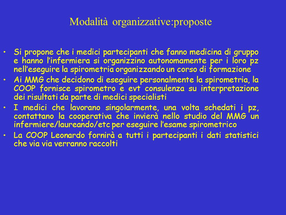 Modalità organizzative:proposte