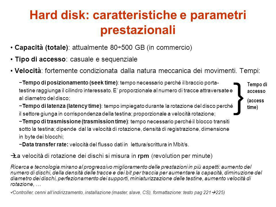 Hard disk: caratteristiche e parametri prestazionali