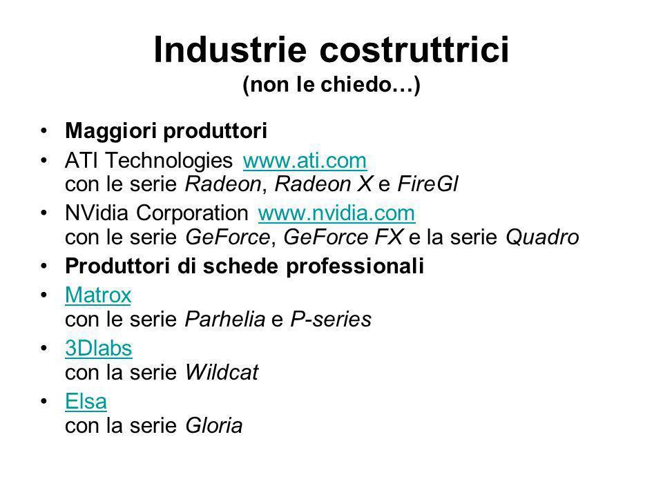 Industrie costruttrici (non le chiedo…)