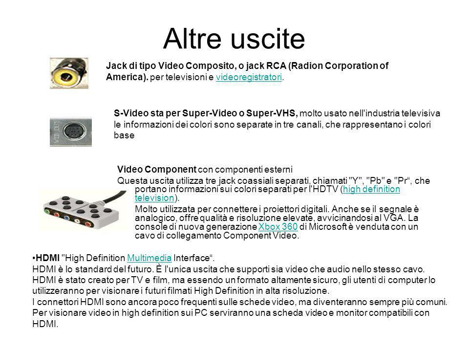 Altre uscite Jack di tipo Video Composito, o jack RCA (Radion Corporation of America). per televisioni e videoregistratori.
