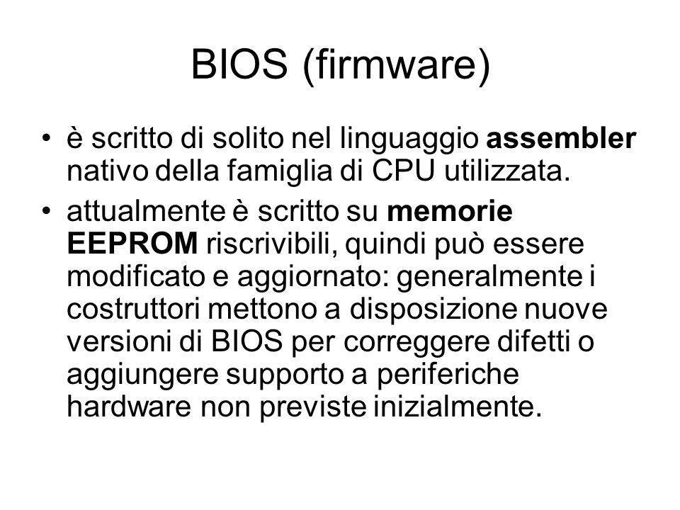 BIOS (firmware) è scritto di solito nel linguaggio assembler nativo della famiglia di CPU utilizzata.