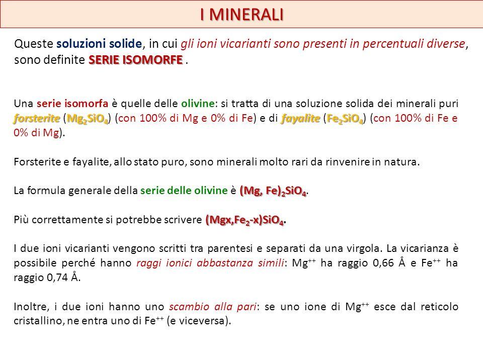 I MINERALI Queste soluzioni solide, in cui gli ioni vicarianti sono presenti in percentuali diverse, sono definite SERIE ISOMORFE .