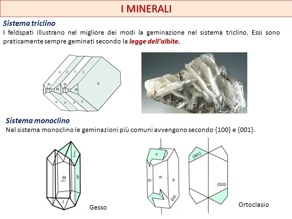 I MINERALI Sistema triclino Sistema monoclino