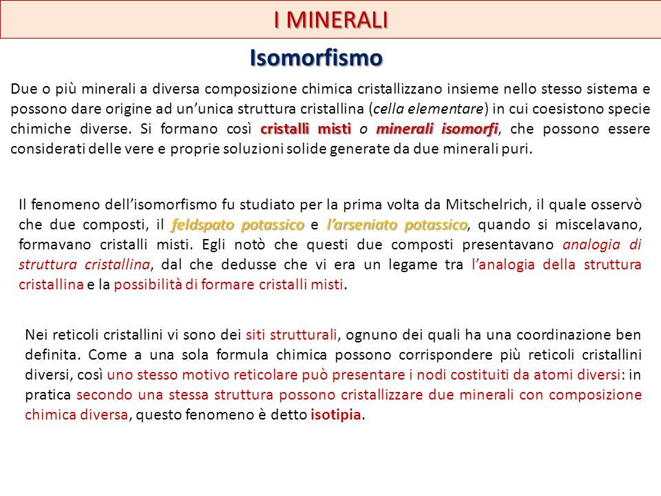 I MINERALI Isomorfismo
