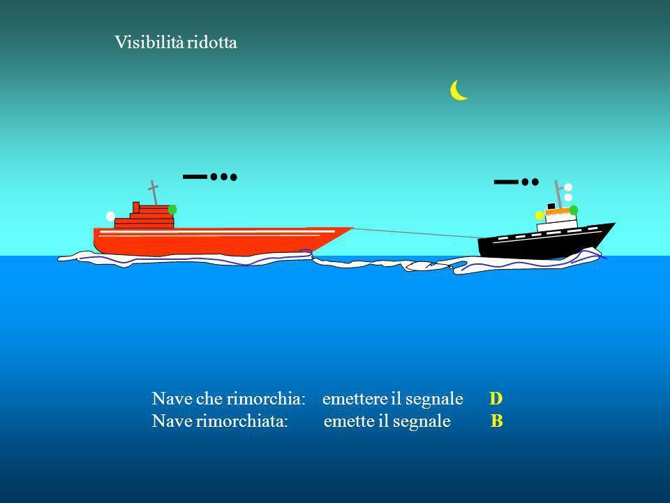 Visibilità ridotta Nave che rimorchia: emettere il segnale D Nave rimorchiata: emette il segnale B.